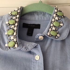 J. Crew Tops - J.Crew button down with embellished collar - Sz 2
